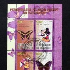 Sellos: REPUBLICA DE DJIBOUTI HOJA BLOQUE PERSONAJES DISNEY DISNEYLANDIA - MICKEY- MININE- FLORA MARIPOSAS. Lote 212511896