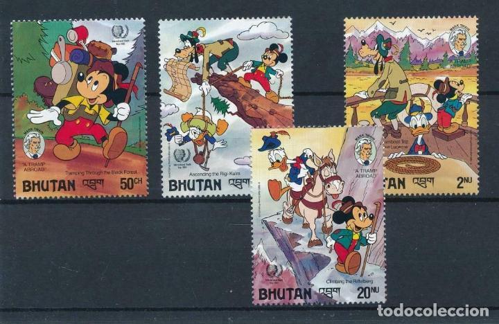 BHUTAN 1985 IVERT 688/91 *** AÑO INTERNACIONAL DE LA JUVENTUD - DIBUJOS DE DISNEY - MICKEY (Sellos - Temáticas - Infantil)