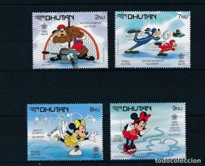 BHUTAN 1988 IVERT 786/89 *** JUEGOS OLIMPICOS DE INVIERNO EN CALGARY - DEPORTES - DIBUJOS DISNEY (Sellos - Temáticas - Infantil)