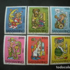 Sellos: SAN MARINO 1984 IVERT 1098/103 *** ESCUELA Y FILATELIA - DIBUJUS HUMORISTICOS. Lote 226623752