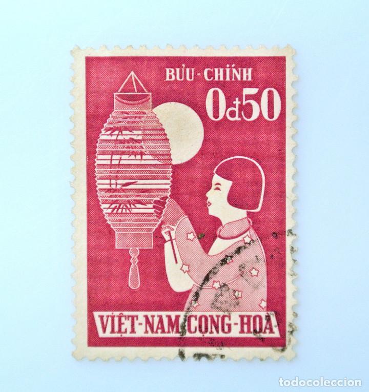 SELLO POSTAL VIETNAM DEL SUR 1958, 0,50 Đ, FESTIVAL INFANTIL, NIÑA CON LAMPARA, USADO (Sellos - Temáticas - Infantil)