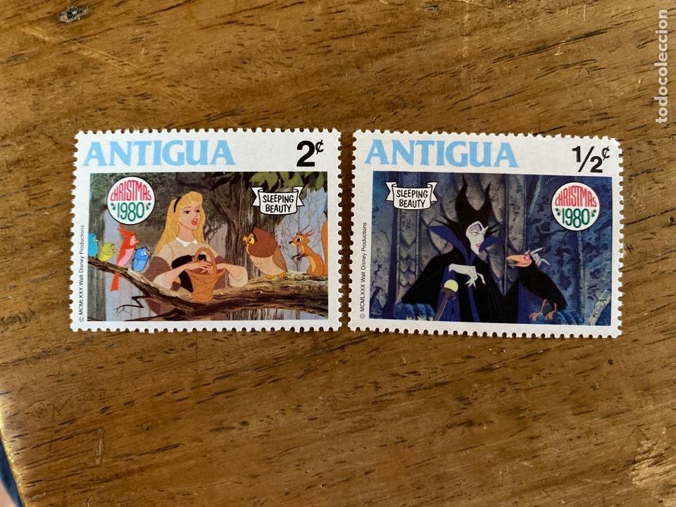 2 SELLOS ANTIGUA DISNEY - CHRISTMAS 1980- BELLA DURMIENTE (Sellos - Temáticas - Infantil)