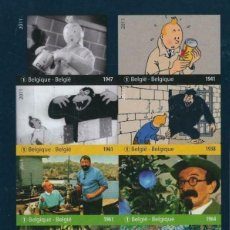 Sellos: SELLOS BELGICA 2011 ESCENAS DE LAS PELICULAS DE TINTIN HOJA SIN DENTAR. Lote 236689210