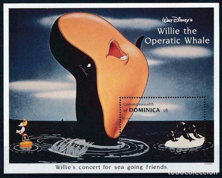SELLO DOMINICA 1993 DISNEY LA BALLENA WILLIE (Sellos - Temáticas - Infantil)