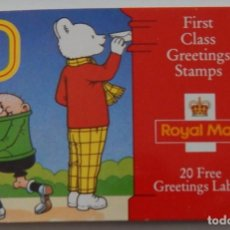 Sellos: 10 FIRST CLASS GREETINGS STAMPS - ROYAL MAIL - 20 FREE GREETINGS LABELS. Lote 240872145