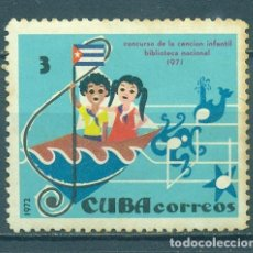 Sellos: CUBA 1972 CHILDREN'S SONG COMPETITION MLH - SHIPS, FLAGS, NOTES, CHILDREN. Lote 241340920