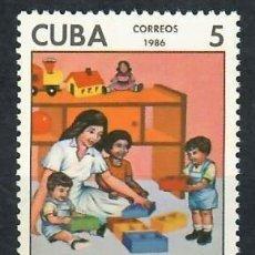 Sellos: CUBA 1986 THE 25TH ANNIVERSARY OF THE CHILDREN'S DAY CARE CENTRES MNH - CHILDREN. Lote 241396410