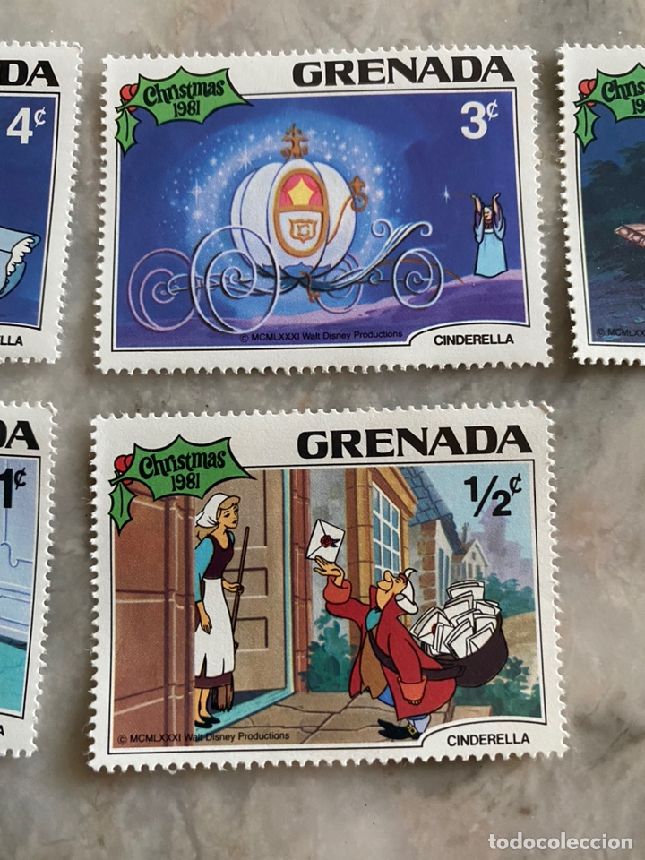 Sellos: 5 sellos Disney / Grenada / Christmas 1981 / Cenicienta - Foto 3 - 243852815