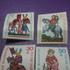Timbres: SELLO ALEMANIA R. FEDERAL NUEVOS/1970/PRO/JUNVETUD/FRESCOS/TROVADORES/MEDIEVALES/CABALLOS/DISFRAZ/ES. Lote 244903095