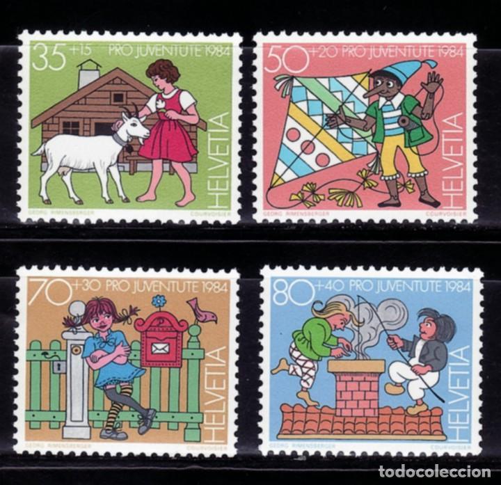 SELLOS TEMA CUENTOS. SUIZA 1984 PRO-JUVENTUD HEIDI/ PINOCHO / PIPPI / B (Sellos - Temáticas - Infantil)