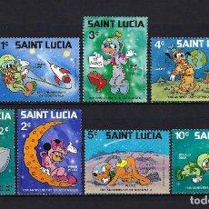 Sellos: 1980 SANTA LUCÍA YVERT 185/491 WALT DISNEY, ESPACIO MNH** NUEVOS SIN FIJASELLOS. Lote 262300255