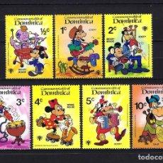 Sellos: 1979 DOMINICA YVERT 621/627 WALT DISNEY, INSTRUMENTOS MUSICALES MNH** NUEVOS SIN FIJASELLOS. Lote 262300320