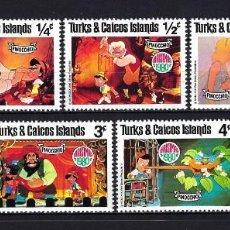 Sellos: 1980 TURKS & CAICOS ISLANDS YVERT 495/501 WALT DISNEY, PINOCHO, PINOCCHIO MNH** NUEVOS SIN FIJASELLO. Lote 262301245