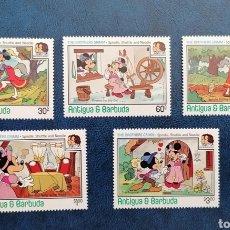 Sellos: ANTIGUA Y BARBUDA 1985 DISNEY LOS HERMANOS GRIMM SERIE COMPLETA YVERT 892/896 - NUEVA MNH. Lote 271963928