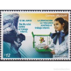 Sellos: ⚡ DISCOUNT URUGUAY 2008 INTERNATIONAL DAY AGAINST CHILD LABOUR MNH - CHILDREN, COMPUTERS. Lote 274790183