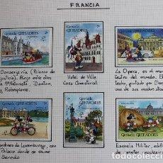 Sellos: 6 SELLOS DE GRENADA GRENADINES AÑO 1989. ARQUITECTURA PARIS CON PERSONAJE MICKY MOUSE. Lote 169894776
