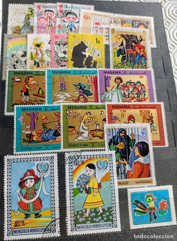 Sellos: Lote de 100 sellos usados de temática infantil - Foto 2 - 283018318