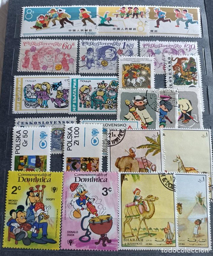 Sellos: Lote de 100 sellos usados de temática infantil - Foto 3 - 283018318