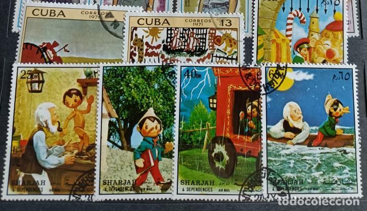 Sellos: Lote de 100 sellos usados de temática infantil - Foto 5 - 283018318
