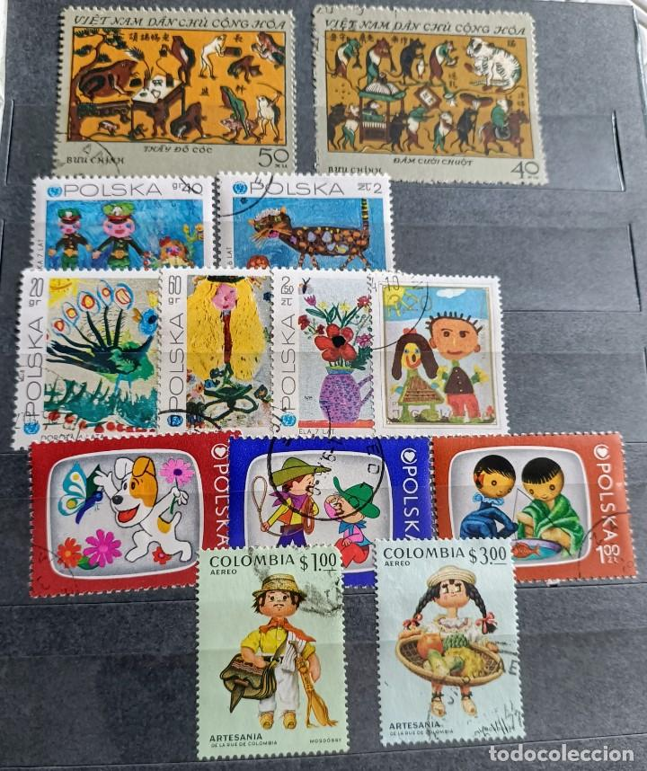 Sellos: Lote de 100 sellos usados de temática infantil - Foto 6 - 283018318
