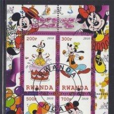 Timbres: RWANDA 2010 HOJA BLOQUE SELLOS DISNEY WORLD- MICKEY MOUSE - PATO DONALD- GOOFY- DAYSI. Lote 287316763
