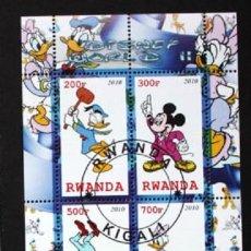 Timbres: RWANDA 2010 HOJA BLOQUE SELLOS DISNEY WORLD - MICKEY MOUSE - PATO DONALD - GOOFY - DAYSI. Lote 287317208