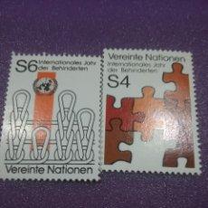 Sellos: SELLO NACIONES UNIDAS (VIENA) NUEVOS/1981/AÑO/MUNDIAL/MINUSVALIDO/PUZLE/COSTURA/. Lote 288079918