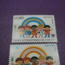 Sellos: SELLO NACIONES UNIDAS (GINEBRA) NUEVO/1979/AÑO/INTER/NIÑO/ONU/INFANCIA/ARCOIRIS/ESPIGA/RAZAS. Lote 288370518