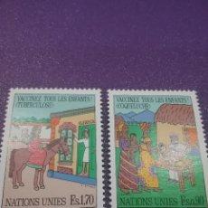 Sellos: SELLO NACIONES UNIDAS (GINEBRA) NUEVO/1987/CAMPAÑA/VACUMACION/INFANCIA/CABALLO/TRAJES/TIPICOS/ANIMAL. Lote 288538998