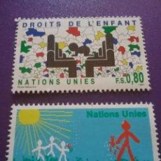 Sellos: SELLO NACIONES UNIDAS (GINEBRA)NUEVO/1991/30ANIV/DECLARACIÓN/DERECHOS/NIÑOS/INFANCIA/FLORES/FLORA/SO. Lote 288905273