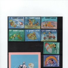 Sellos: SANTA LUCIA 1979, SERIE DE 9 VALORES + HOJA BLOQUE TEMA WALT DISNEY. MNH.. Lote 288982278