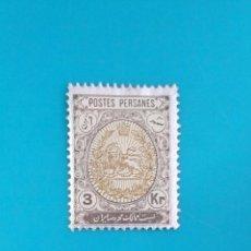 Sellos: SELLO POSTAL DE IRÁN, 1909 ESCUDO NACIONAL, 3KR. Lote 219766707