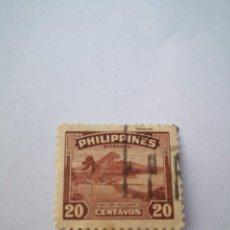 Sellos: SELLO FILIPINAS 20 CENTAVOS FAMOUS MAYON VOLCANO STAMP 1949. Lote 262650680