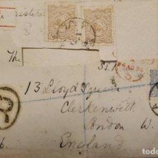 Sellos: O) 1896 IRÁN ASIA, ESCUDO DE ARMAS DE LEÓN Y SOL, REGISTRADO, R MARCA OVAL, A INGLATERRA. Lote 264721654