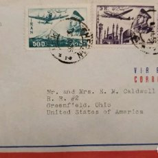 Sellos: O) 1956 IRAN, ASIA, MOHAMMAD REZA SHAH PAHLAVI, PLANE OVER MT DEMAVEND, PLANE ABOVE MOSQUE, AIRMAIL. Lote 267306059