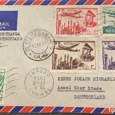 Sellos: O) 1956 IRÁN, ASIA, PLANO SOBRE MEZQUITA, REZA SHAH PAHLAVI, CRUZ ROJA LEÓN Y SOL, LUFTPOST THANSA D. Lote 294508933