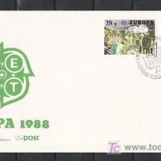 Sellos: IRLANDA 653/4 PRIMER DIA, TEMA EUROPA 1988, TRANSPORTES Y COMUNICACIONES,. Lote 11388328