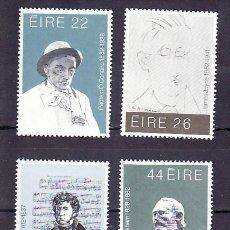Sellos: IRLANDA 471/4 SIN CHARNELA, LITERATURA, MUSICA, ANIVERSARIO PERSONALIDADES DE LITERATURA Y MUSICA, . Lote 7967260