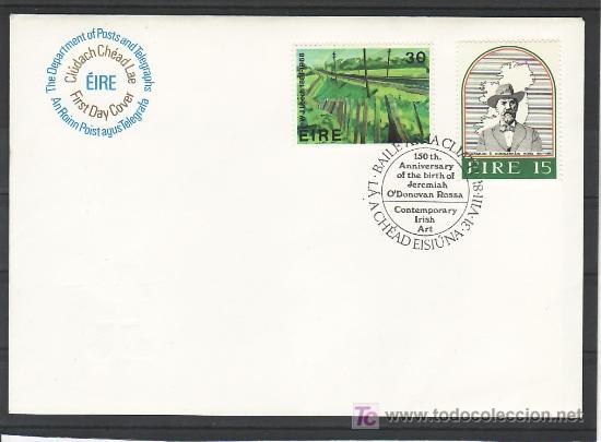 IRLANDA 450/1 PRIMER DIA, POLITICO JEREMIAH O`DONOVAN ROSSA, PINTURA DE W. J. LEECH, (Sellos - Extranjero - Europa - Irlanda)