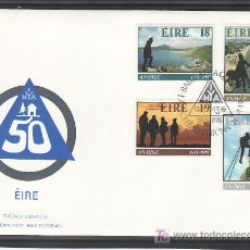Sellos: IRLANDA 446/9 PRIMER DIA, DEPORTE, 50º ANIVº FUNDACION ASOCIACION IRLANDESA DE ALBERGUE JUVENIL. Lote 7967996