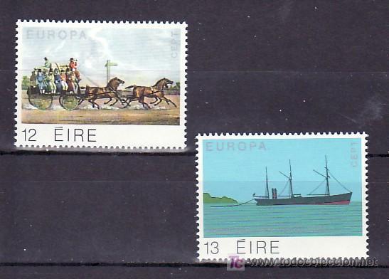 IRLANDA 415/6 SIN CHARNELA, TEMA EUROPA 1979, HISTORIA DEL SERVICIO DE CORREO, BARCO, (Sellos - Extranjero - Europa - Irlanda)