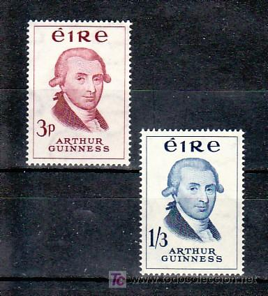 IRLANDA 142/3 CON CHARNELA, CERVEZA, BICENTENARIO DE LA CERVECERIA GUINNERSS, (Sellos - Extranjero - Europa - Irlanda)