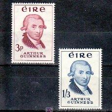 Sellos: IRLANDA 142/3 CON CHARNELA, CERVEZA, BICENTENARIO DE LA CERVECERIA GUINNERSS,. Lote 11811628
