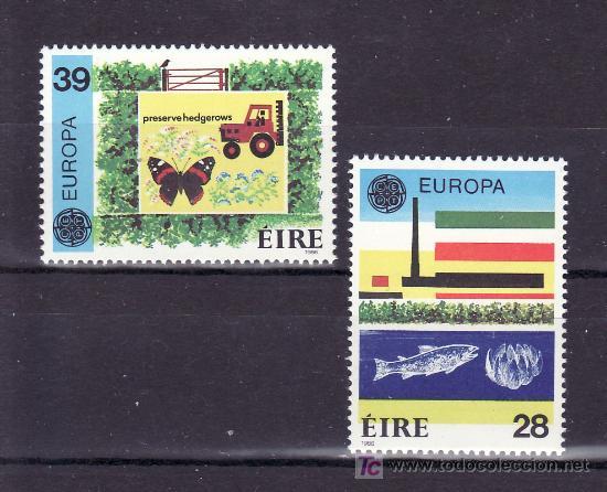 IRLANDA 592/3 SIN CHARNELA, TEMA EUROPA 1986, PROTECCION NATURALEZA Y MEDIO AMBIENTE, FAUNA, PECES, (Sellos - Extranjero - Europa - Irlanda)