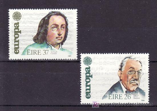 IRLANDA 566/7 SIN CHARNELA, TEMA EUROPA 1985, AÑO EUROPEO DE LA MUSICA, (Sellos - Extranjero - Europa - Irlanda)
