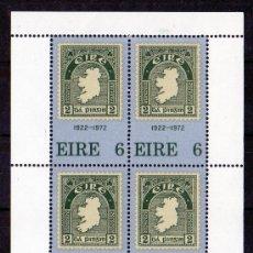 Sellos: IRLANDA AÑO 1972 YV HB 1*** 50 ANVº DEL SELLO IRLANDÉS FILATÉLIA - SELLO SOBRE SELLO - MAPAS. Lote 26262788