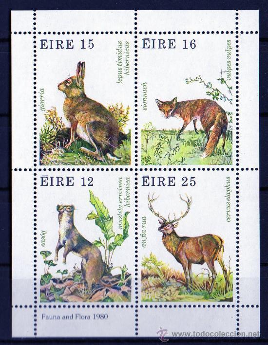 IRLANDA AÑO 1980 YV HB 3*** FAUNA - FLORA - ANIMALES DEL BOSQUE - CAZA - NATURALEZA (Sellos - Extranjero - Europa - Irlanda)