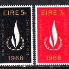 Sellos: IRLANDA 227/28** - AÑO 1968 - AÑO INTERNACIONAL DE LOS DERECHOS HUMANOS. Lote 45936607