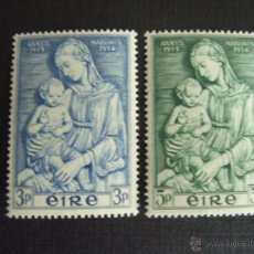 Sellos: IRLANDA Nº YVERT 122/3*** AÑO 1954. AÑO MARIANO. VIRGEN CON EL NIÑO, DE LUCCA DELLA ROBBIA. Lote 46833104