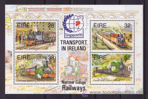 IRLANDA HB 18 TRENES VIA ESTRECHA CON SELLO SINGAPORE 95 NUEVO 1995 LUJO VER DETALLE MNH *** (Sellos - Extranjero - Europa - Irlanda)